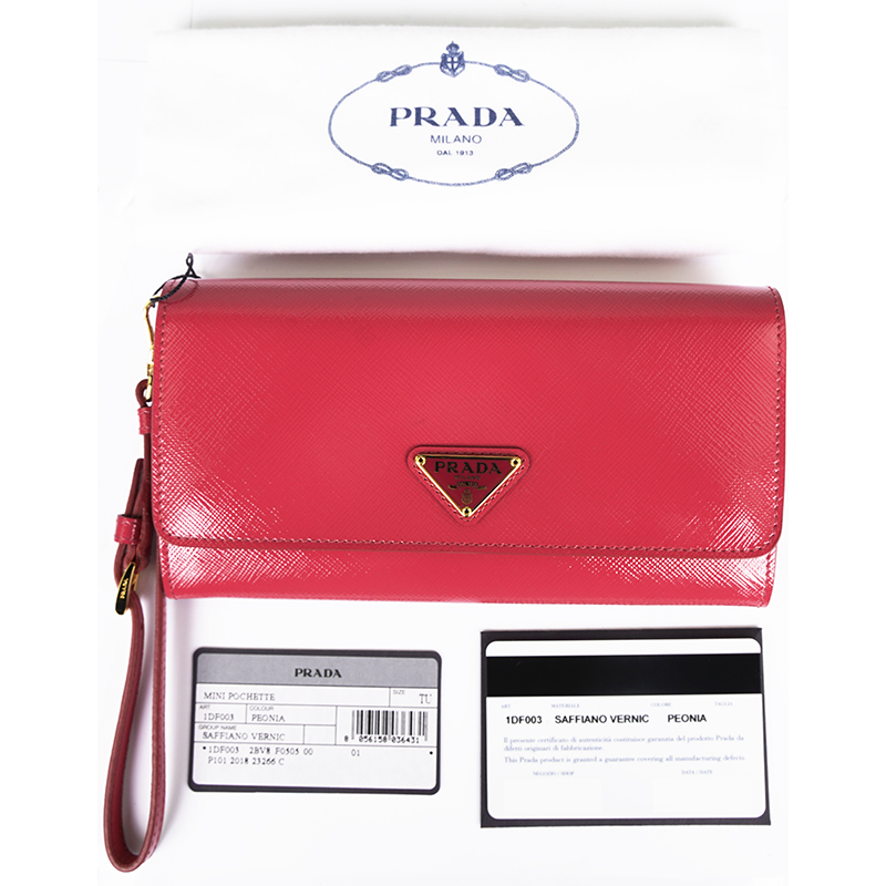 3ff03f909856 Details about NEW $730 PRADA Pink Patent SAFFIANO Leather Continental Wallet  & WRISTLET STRAP