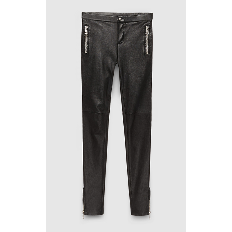 Details about sz 42 NEW $2500 GUCCI Black 100% LEATHER Skinny SILVER CHUNKY  ZIPPER PANTS NWT